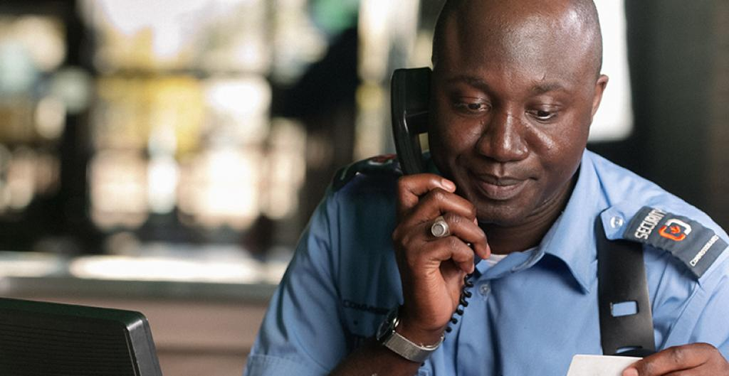 An administration officer on a phone call
